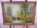 Gilt Framed Oil - Woodland Water Scene by Spencer 1982